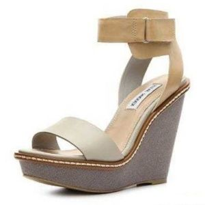Steve Madden Bantley Grey Tan Wedge Shoes